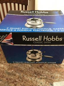 Electric fondue set, 2 quart, never used (Blue Bell)
