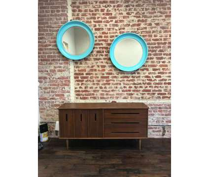 Vintage Egg Shell Blue Round Mirrors, circa 1960's