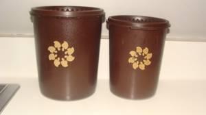 Vintage Tupperware Cannisters Brown (2) (SSI)