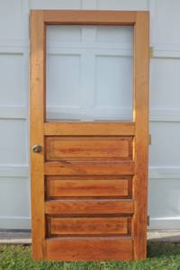 VINTAGE SOLID WOOD INTERIOR/EXTERIOR THREE PANEL DOOR WITH NEW GLASS (Franklin)