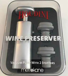 WINE PRESERVER by Houdini,Vacuum Pump w/ 2 Stoppers; GLASS DECANTER (Snellville)