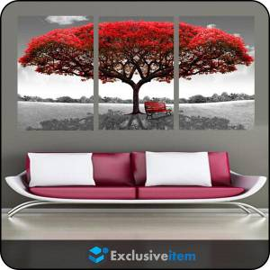 Would you like to hang RED TREE WALL CANVAS