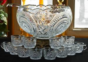 L. E. SMITH GLASS Complete 20 Piece Punch Bowl Set NEW (Hankey Farms)