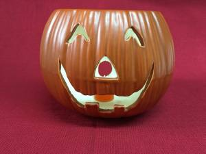 Ceramic Pumpkin Jack O Lantern w/ Battery Powered Candle