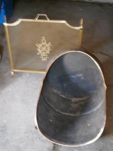 Firemetal Firewood Holder and Brass Fireplace Screen (Saint Paul)