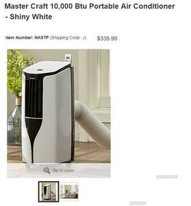 Master Craft 10,000 Btu Portable Air Conditioner - Shiny White