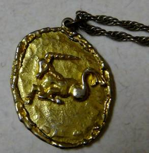 Hippocampus, Sea unicorn Pendant. Gold Colored (Warm Springs & Paradise)