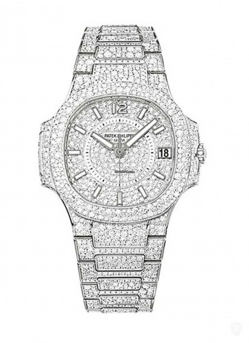 Patek Philippe 7021/1G 7021/1G Ladys Nautilus with Full Diamond Case - White