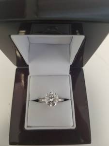 2.50 Carat F Si2 Diamond Ring 18k White Gold EX Cut Certified (Hollywood)