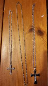 2 men's cross pendant necklaces and an extra chain