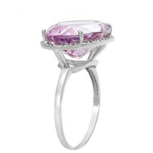 9.85ctw Amethyst & Diamond White Gold Ring (Plano)