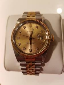 Rolex 18k quickset Mens 2 tone Datejust Diamond Dial (S.Garland)