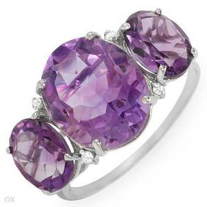 3 Stone Amethyst & Diamond White Gold Ring (Plano)