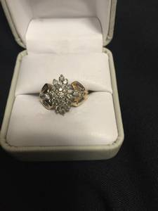 Gold ring with diamond clusters (Arlington)