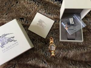Burberry mens watch Rose Gold Excellent in original box cert (Clayton)