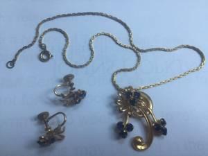 Vintage Gold Tone Sapphire Crystal Screw Back Earring & Pendant Flower (Ellicott