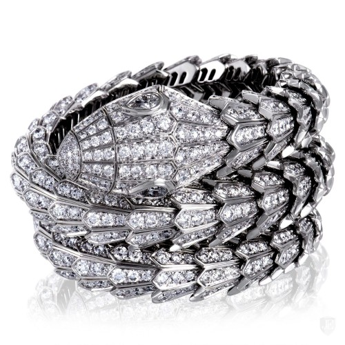 Bvlgari Bvlgari Serpenti 18K White Gold Full Diamond Pave Large Bangle Bracelet
