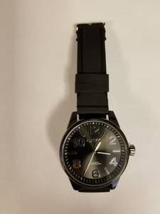 Men's Black Quartz Onyk Wristwatch Watch w/ Bold 2 inch face!