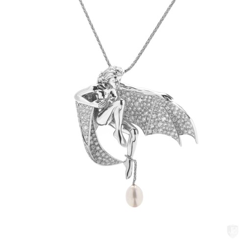 Boucheron Boucheron 18K White Gold Diamond and Pearl Winged Woman Pendant