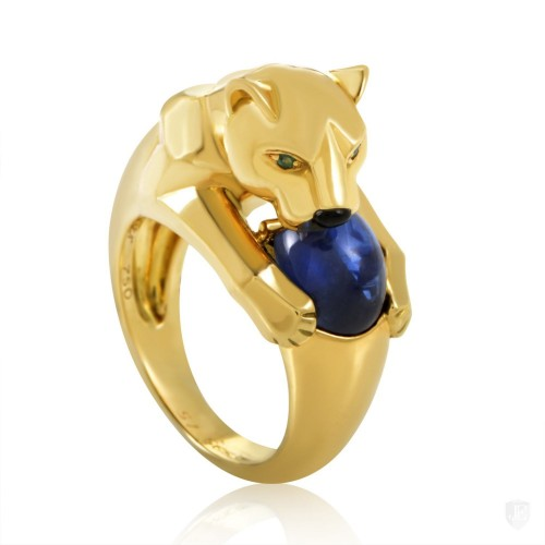 Cartier Cartier Panthere 18K Yellow Gold Sapphire Ring