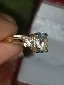14k solid Oval Blue Topaz ring
