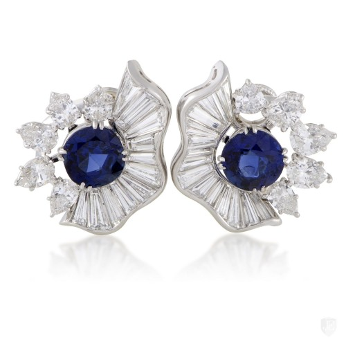 Non Branded Womens Platinum Diamond and Blue Sapphire Clip-on Earrings