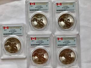 SET OF 5 1oz 2017 $5 CANADA LYNX PCGS MS69 FIRST STRIKE SILVER COINS (BELLEVUE)