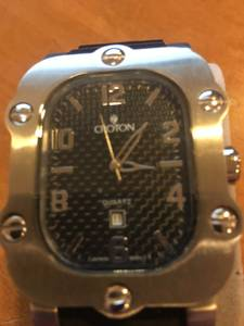 Unique Croton Stainless Steel Carbon Fibre Watch # Cr307805bsbk (Westlake