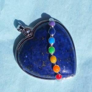 Natural Lapis Lazuli Stone Heart Shape Pendant with 7 Chakra Beads (Yukon)