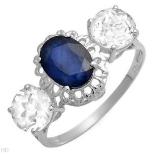 3.50ctw 3 Stone Sapphire & Gemstone White Gold Ring (Plano)
