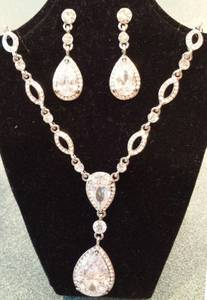 NEW Faux Diamond Silver Necklace and Earrings - Betrothed Wedding Gift (Wales