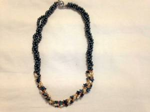 3-Strand Twisted Metallic Gray Beaded 18