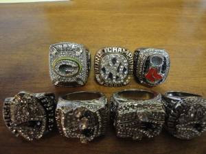 4 New England Super Bowl Rings. (Waltham)
