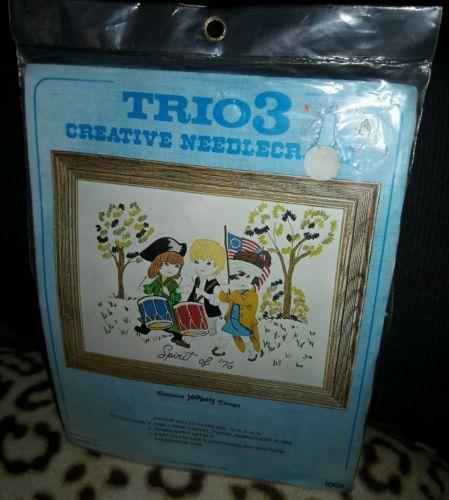 Vintage 1974 Trio 3 Creative Needle Craft Spirit of 76 Drums