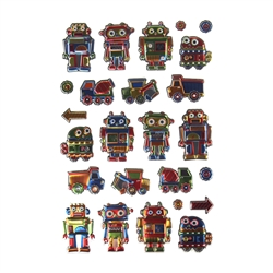 Toys For Boys Puffy Foil Fun Stickers, 25-Count