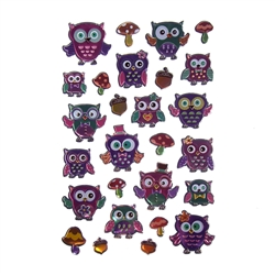 Life's A Hoot Owls Puffy Foil Fun Stickers, 27-Count