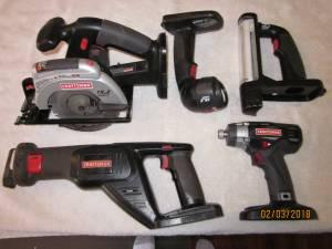 Craftsman 19.2 Volt Cordless Tools- Saws Drills, Impact Drivers