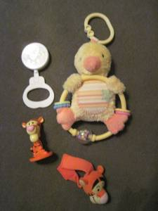 Travel rattle duck, tigger wrist rattle and tigger bobble toy (Elgin (near