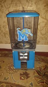 Referbished gumball Machine With a Memphis state theme. (Bartlett)