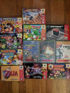 Nintendo 64 N64 bundle: console, 2 controllers, 11 games (Cambridge)