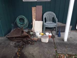 Free Wood, plastic chairs, shelving, door mats, large bag, pots, etc. (Portland)