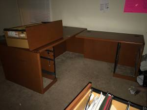 L Shape Cherry Desk + Credenza (Clayton)