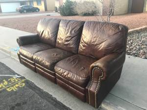 leather couch recliner (vegas and jones)
