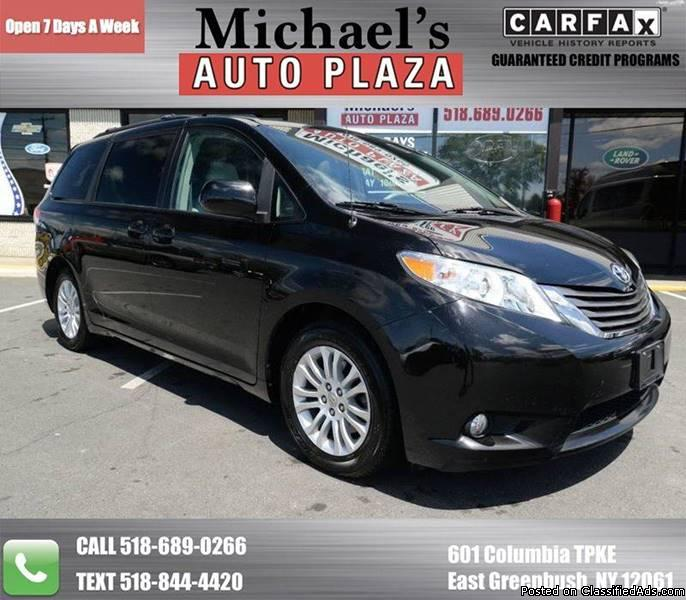 ONE OWNER 2012 Toyota Sienna XLE, Black with Gray Leather Interior, Third Row...
