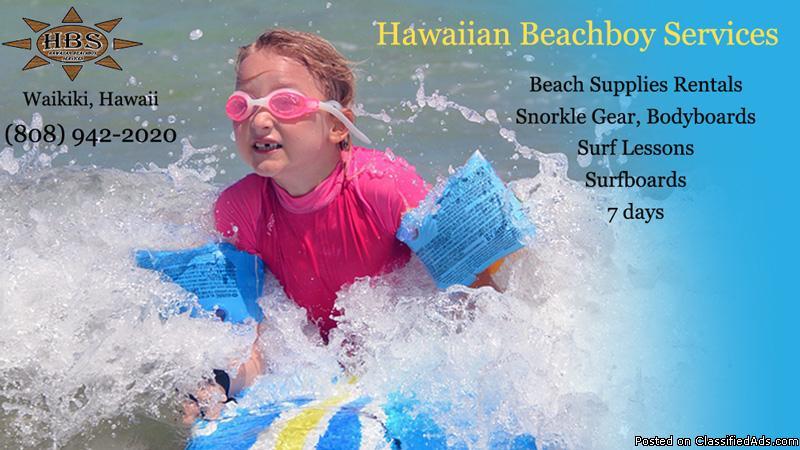 Snorkel gear rental, body board, surfboard rental