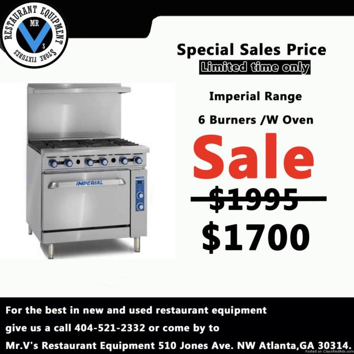 Imperial Range 6 Burners /W Oven