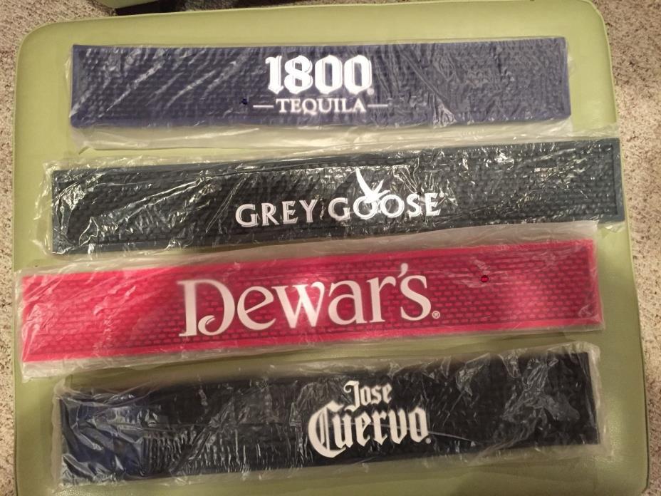 NEW Lot of 4 Bar Rail Mats Dewars - Grey Goose- 1800 - Jose Cuervo L@@K