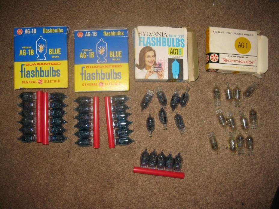 48 Vintage Flash Bulbs 29 blue GE AG-1B 7 Sylvania blue dot AG1B 12 Technicolor