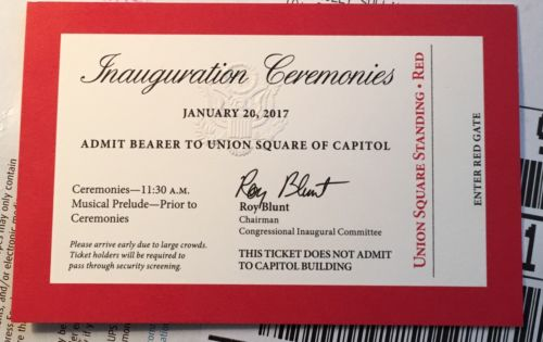 1 Inauguration Ticket Trump 2017 Red *Overnight Mail*