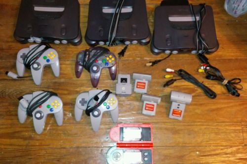 Nintendo 64 N64 Lot of 3 Consoles with Controllers and Tremor Paks